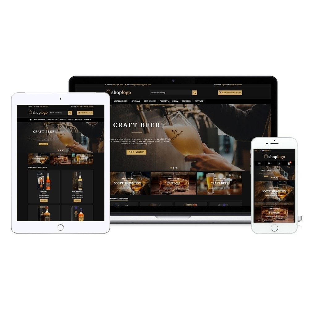 theme - Drink & Wine - AT18 Black - Drink, alcohol, liquor, whisky, beer store - 14