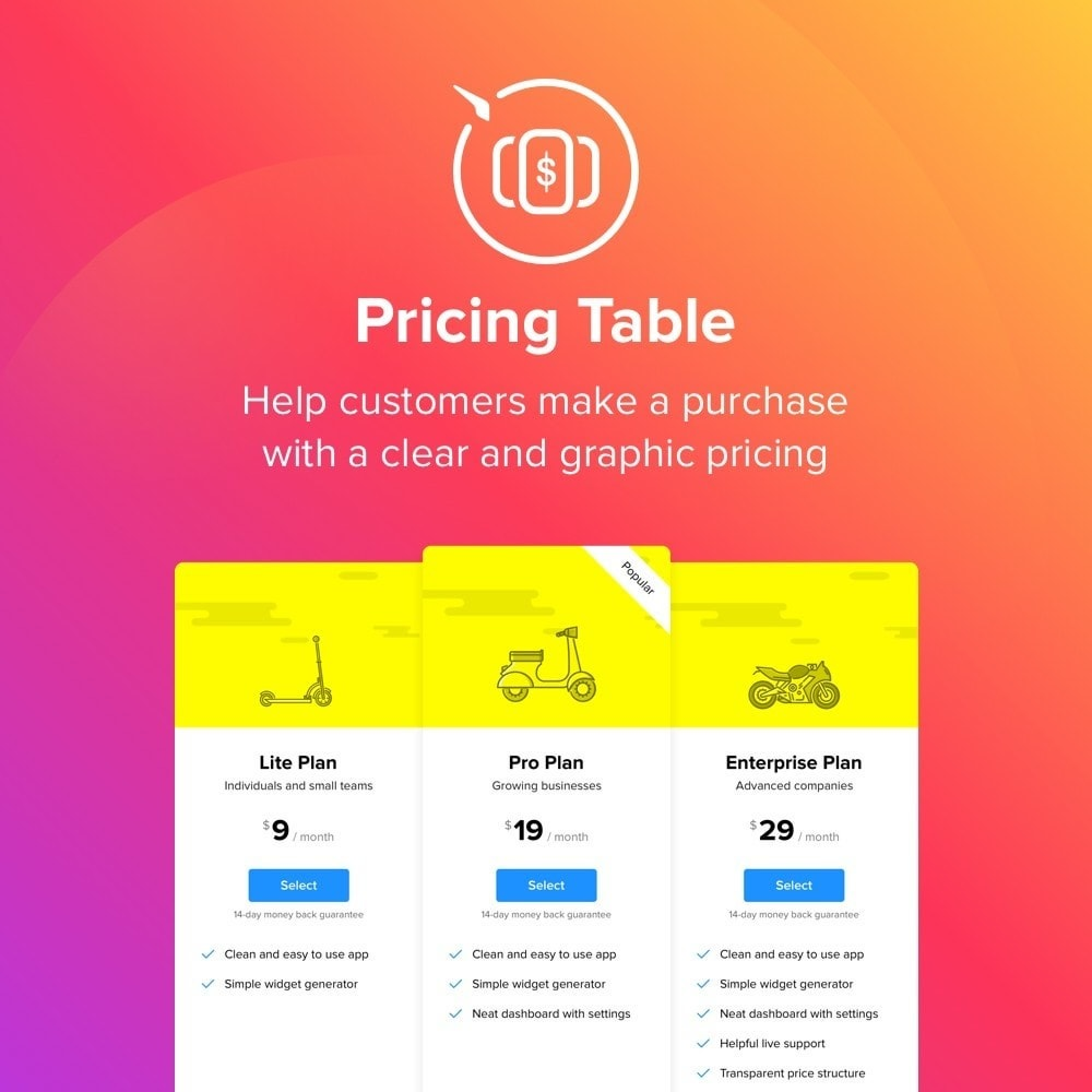 module - Page Customization - Elfsight Pricing Table - 1