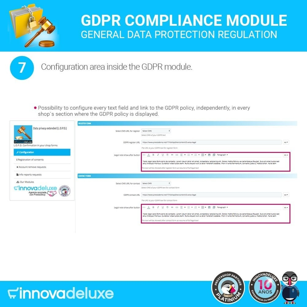 module - Wzmianki prawne - Data privacy extended (data protection law) - GDPR - 13