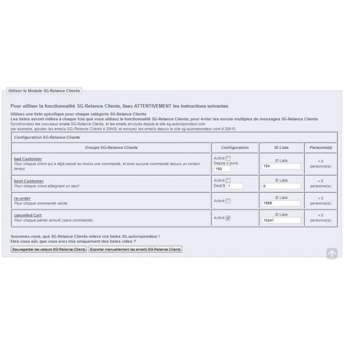 module - Соединение с внешней программой (CRM, ERP...) - sgautorepondeur - 3