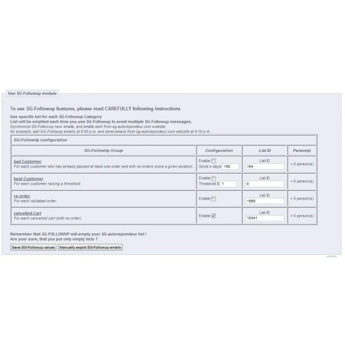module - Соединение с внешней программой (CRM, ERP...) - sgautorepondeur - 6