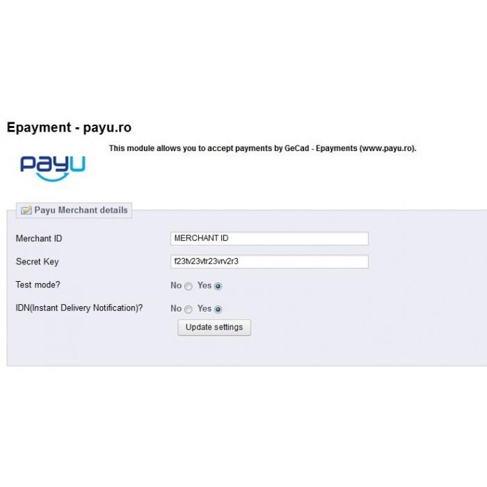module - Płatność kartą lub Płatność Wallet - PayU Romania,Turkey, Russia, Hungary, Ukraine - 5