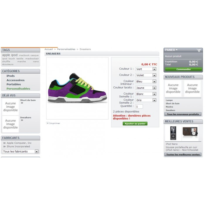 module - Combinations & Product Customization - Product customization - 2