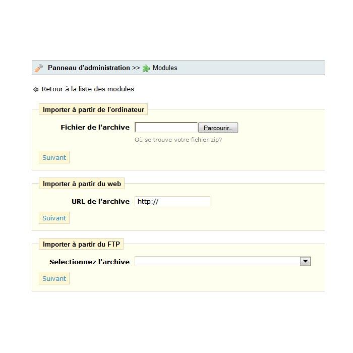 module - Personalización de la página - Import/export a theme - 2