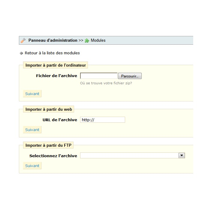 module - Individuelle Seitengestaltung - Import/export a theme - 2