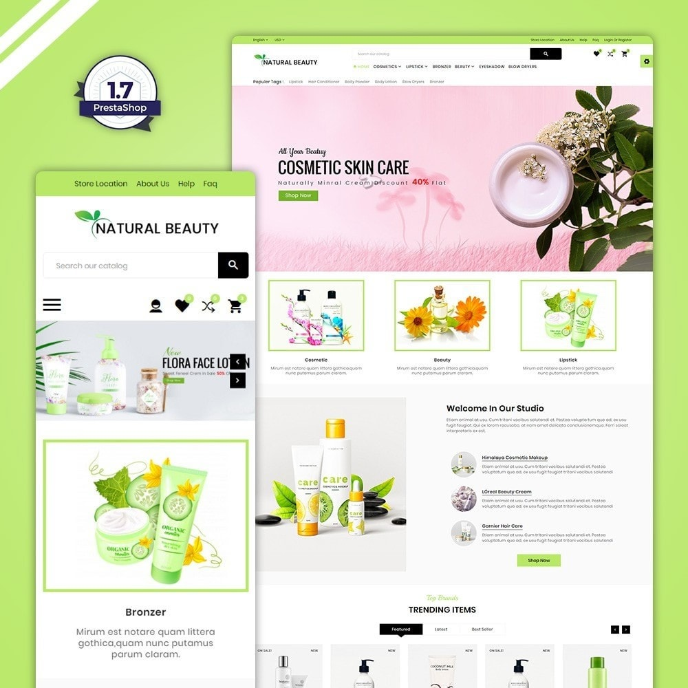 theme - Здоровье и красота - Natural Beauty – Cosmetic and lingerie Shop - 1