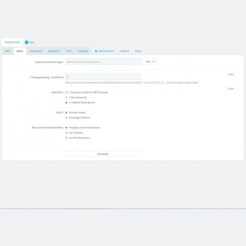 module - Quick Eingabe & Massendatenverwaltung - Produktmassenbearbeitung: Massenupdateassistent - 5