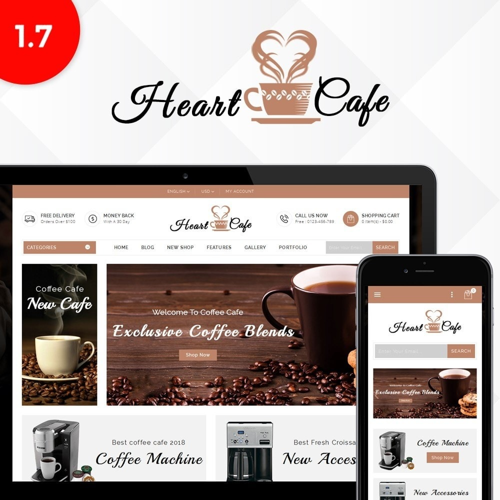 theme - Drink & Wine - Heart cafe store - 1