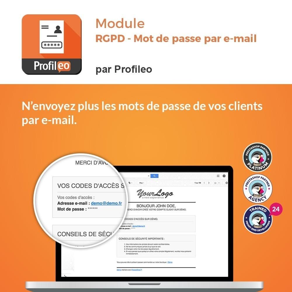 module - Législation - RGPD - Pas de mot de passe par e-mail - 1