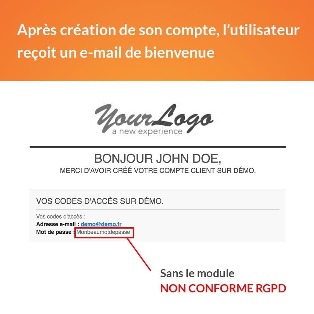 module - Législation - RGPD - Pas de mot de passe par e-mail - 2
