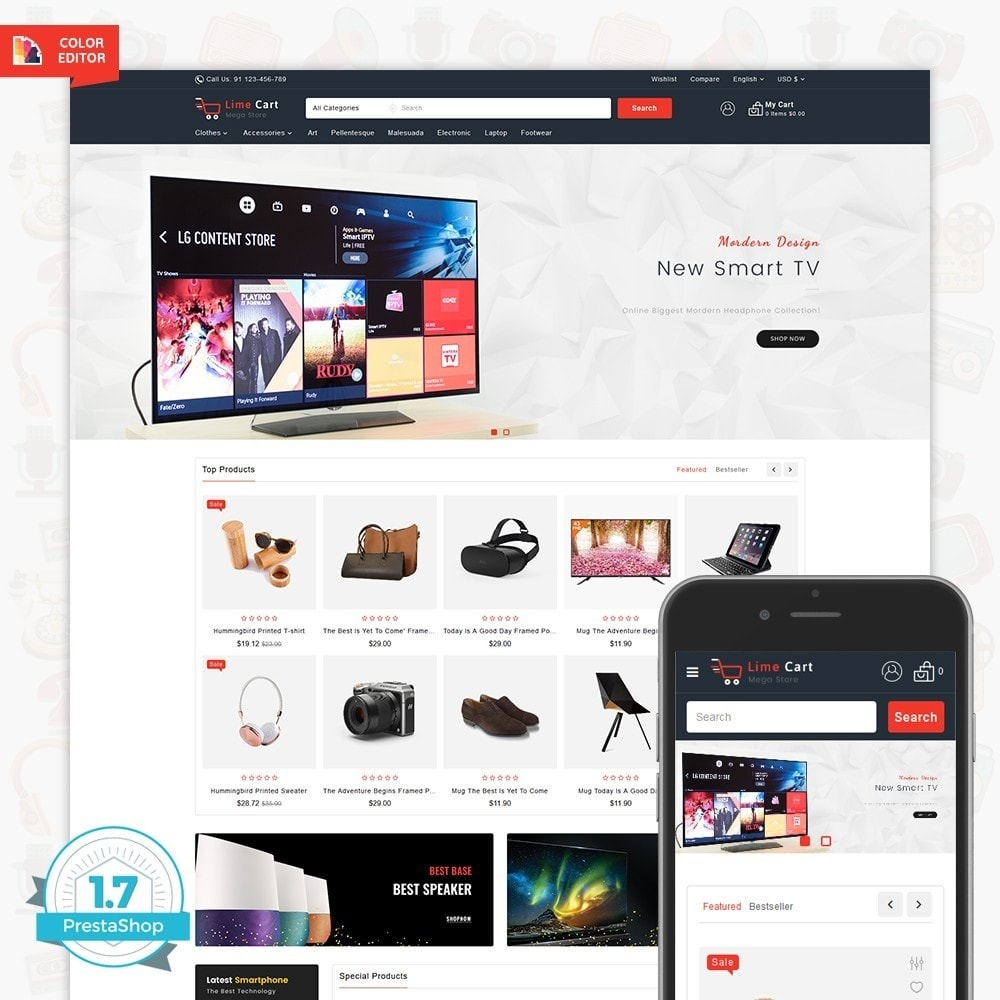 theme - Elektronika & High Tech - LimeCart - The Mega Ecommerce Store - 1