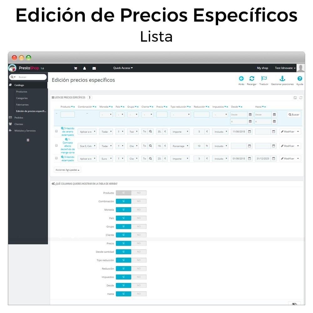 module - Gestión de Precios - Edición de precios específicos - 2