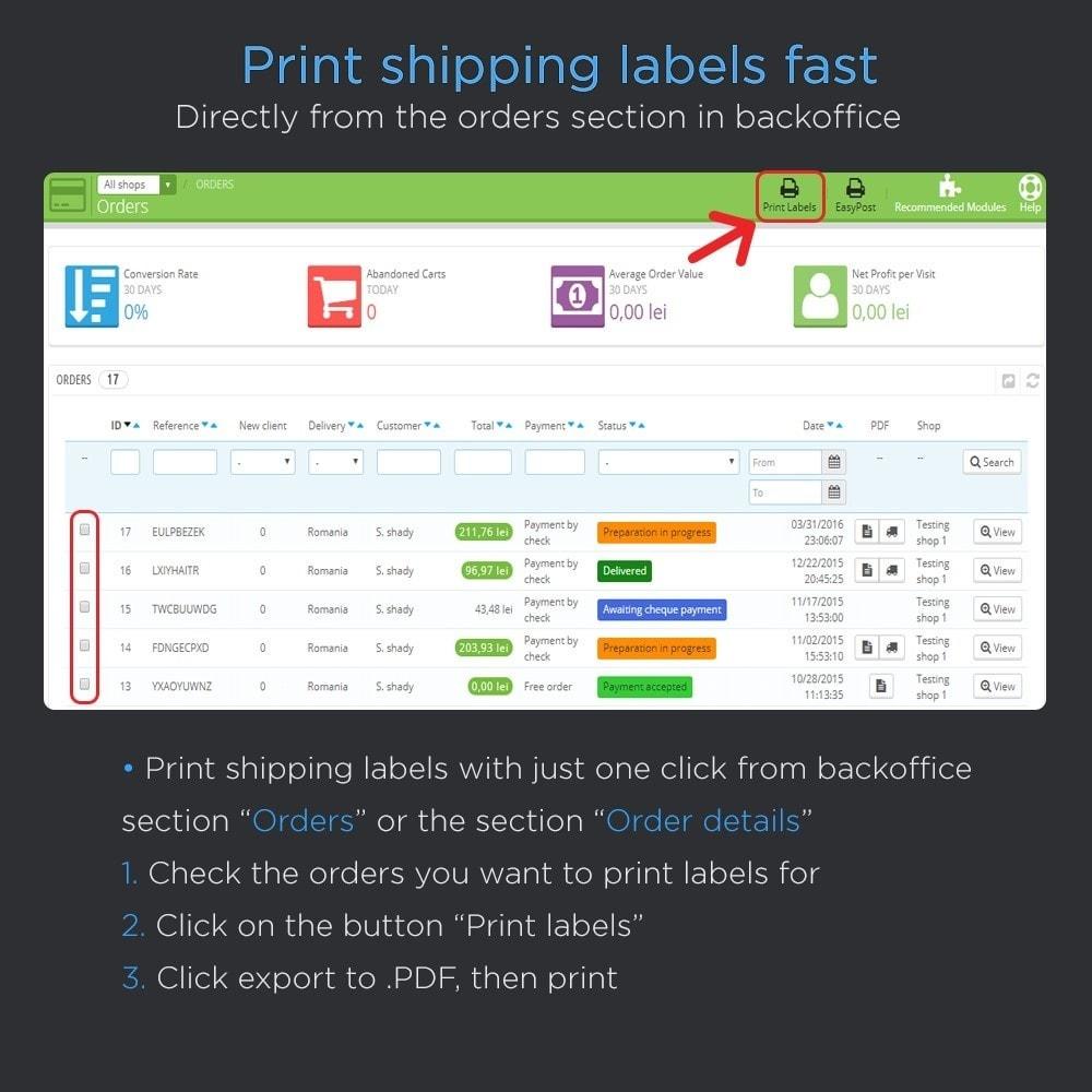 module - Preparación y Envíos - Imprimir envío etiquetas Pro (dirección impresión) - 2