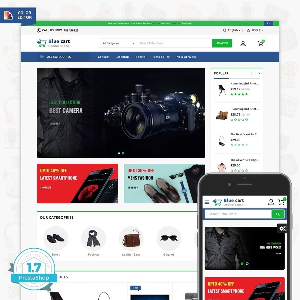 theme - Электроника и компьютеры - Blue Cart - The Online Store - 1