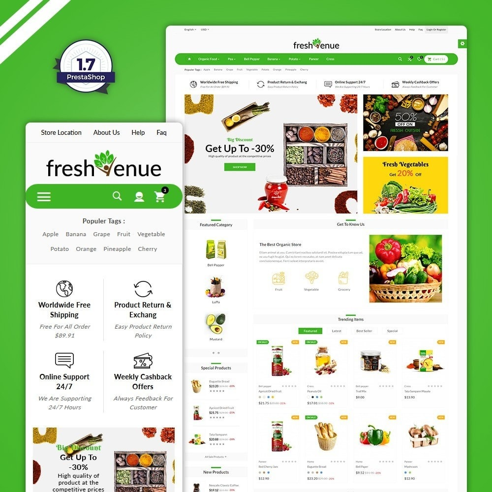 theme - Food & Restaurant - Fresh Avenue - Fresh  Grocery Store - 1
