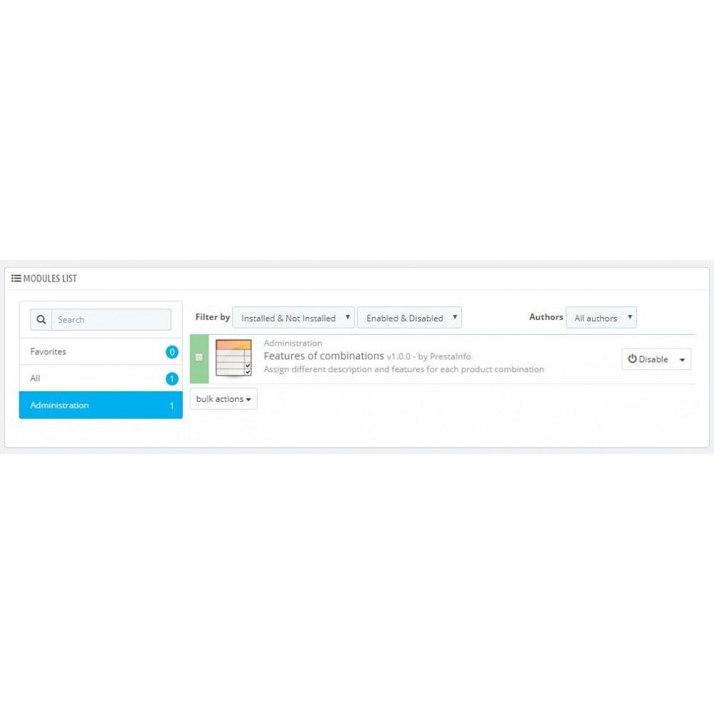 module - Diversificação & Personalização de Produtos - Product combination features CombiFeatures - 2