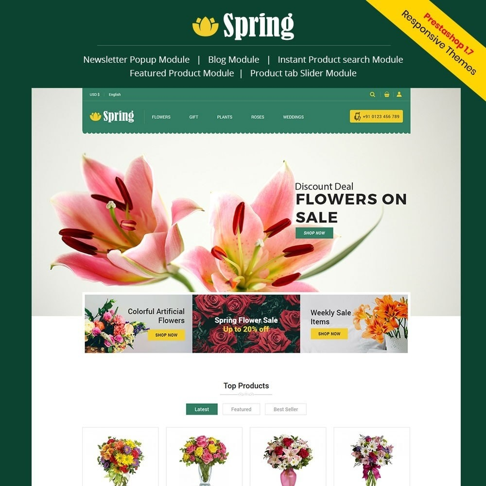 theme - Food & Restaurant - Spring Flower Store - 1