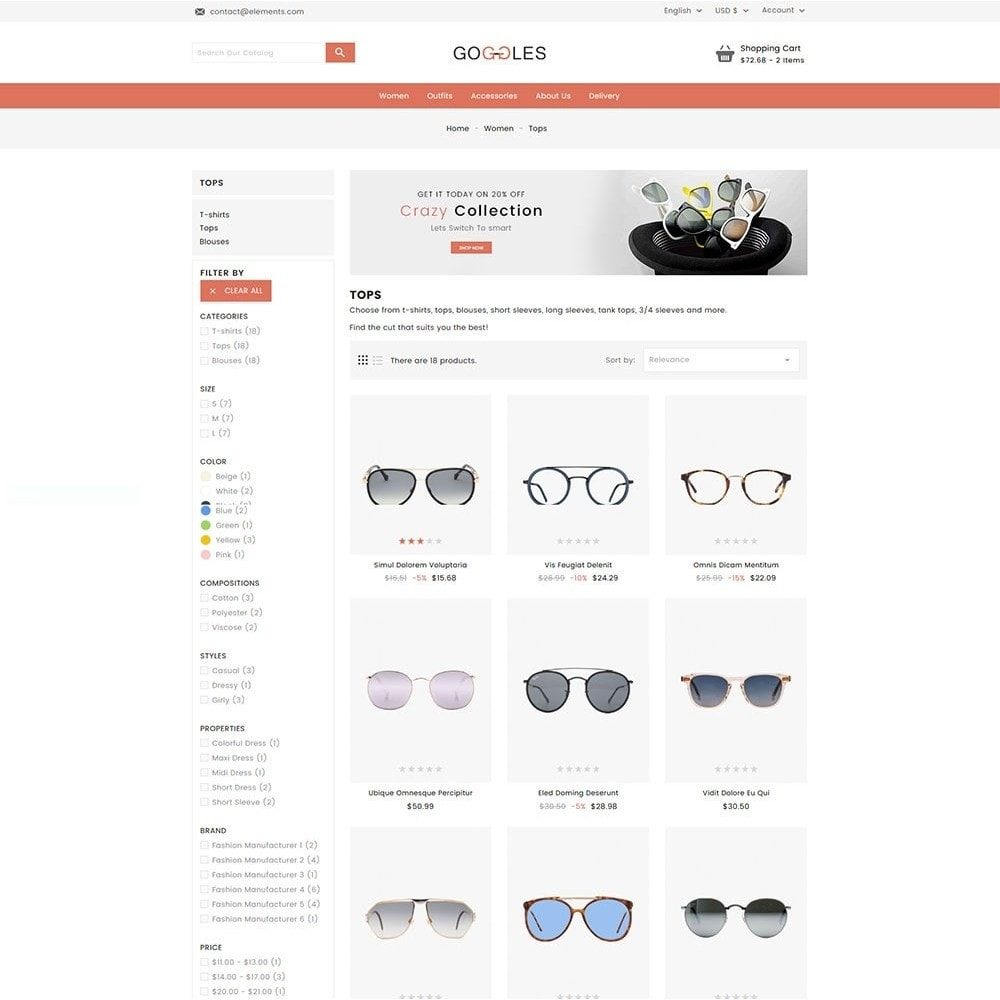 theme - Mode & Schuhe - Goggles Online Store - 5