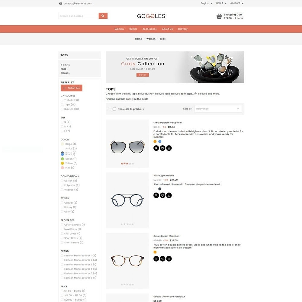 theme - Mode & Schuhe - Goggles Online Store - 6