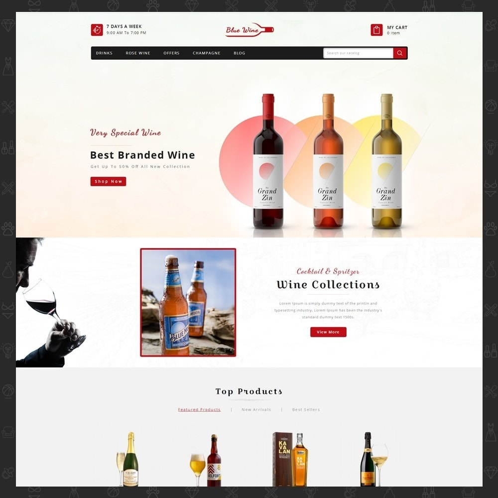 theme - Drink & Tobacco - Blue Wine Store - 2