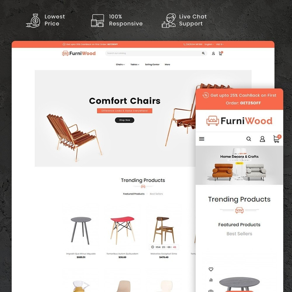theme - Casa & Jardins - FurniWood - Sofa & Chairs - 1