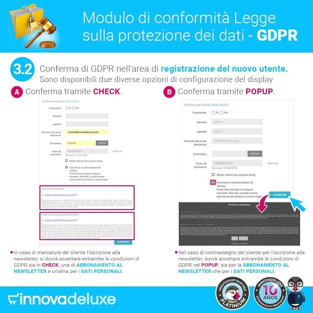 module - Legale (Legge Europea) - Codice in materia di Protezione dei Dati Personali RGPD - 5