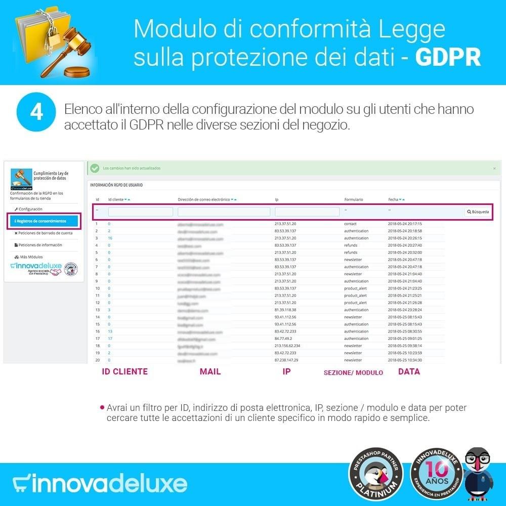 module - Legale (Legge Europea) - Codice in materia di Protezione dei Dati Personali RGPD - 9