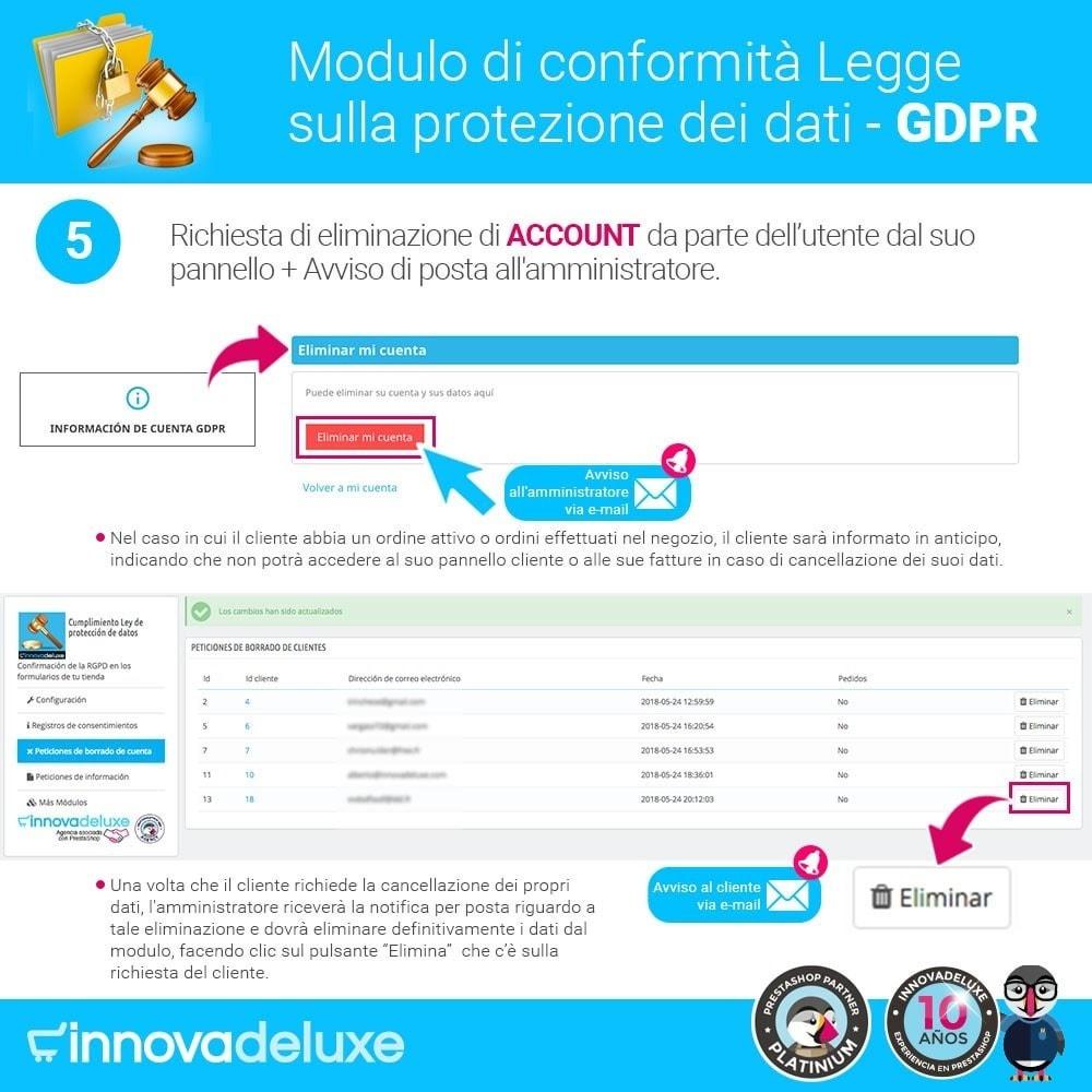 module - Legale (Legge Europea) - Codice in materia di Protezione dei Dati Personali RGPD - 10