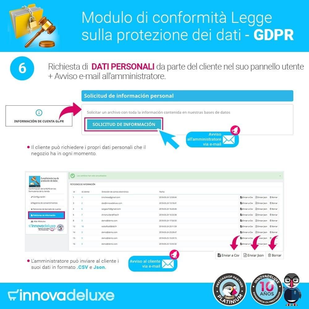module - Legale (Legge Europea) - Codice in materia di Protezione dei Dati Personali RGPD - 11