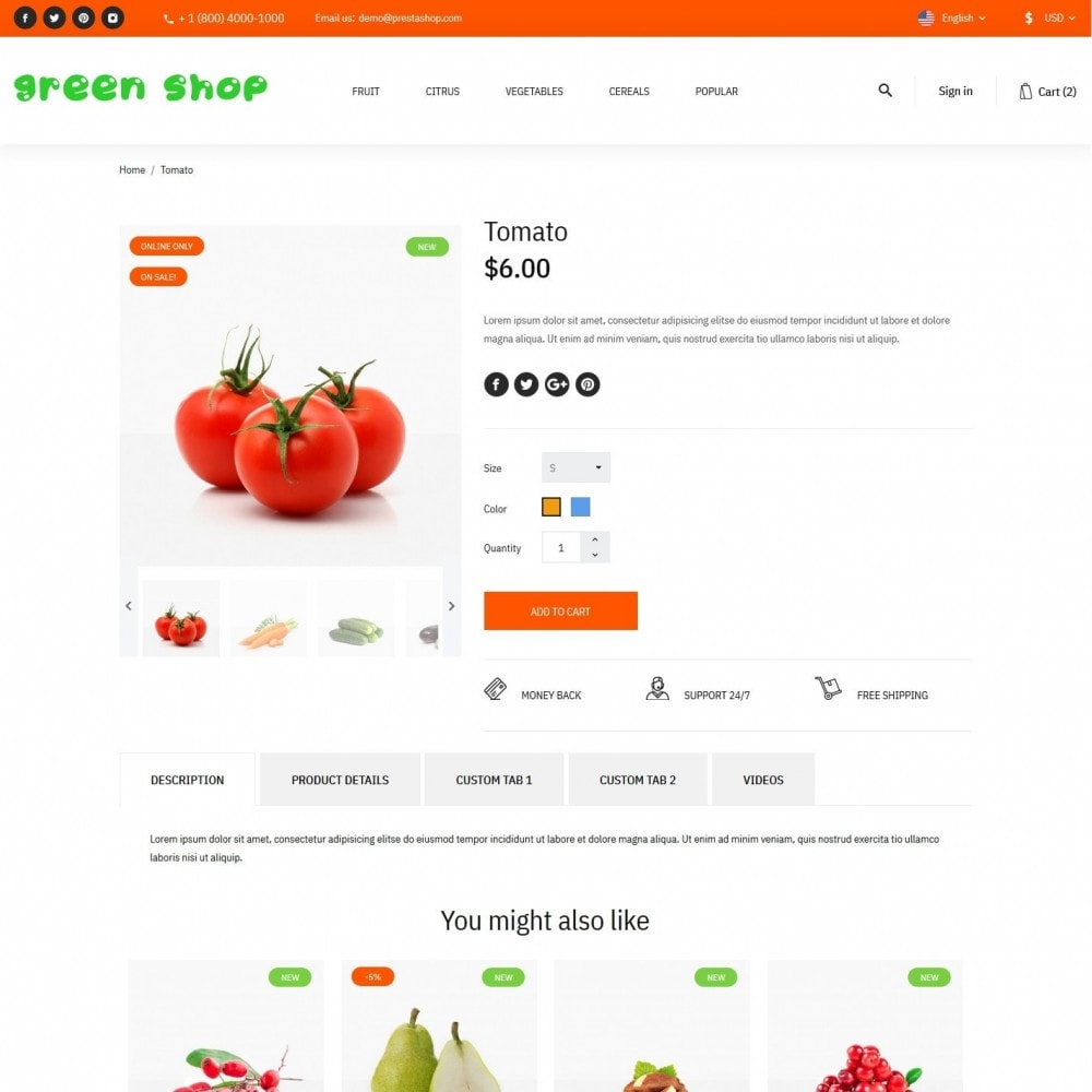theme - Food & Restaurant - Green shop - 6