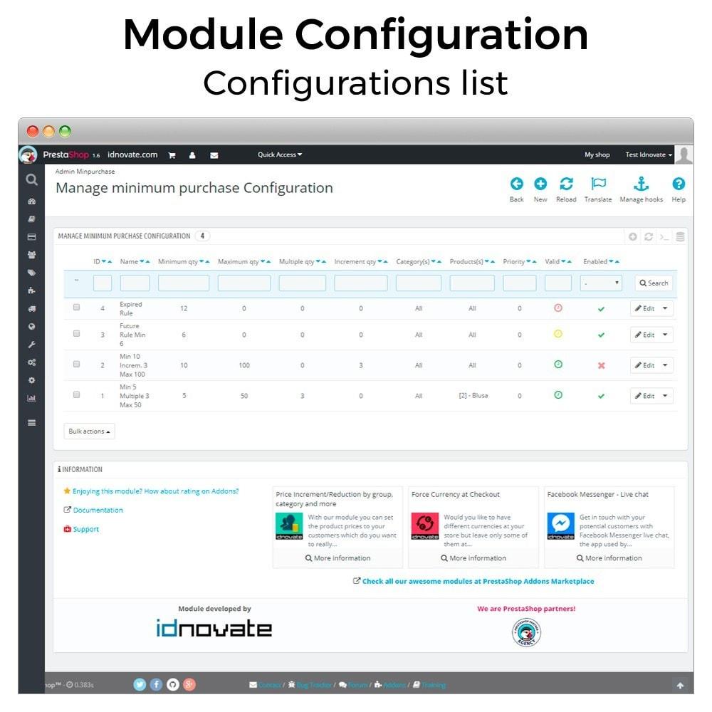 module - Inscripción y Proceso del pedido - Mínimos, máximos, múltiples y límites de importe - 8