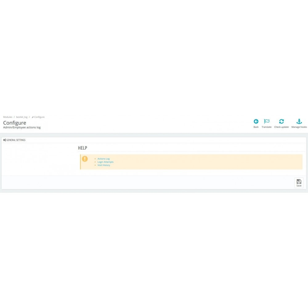 module - Administrative Tools - Admin/Employee log of changes / actions / activity - 3