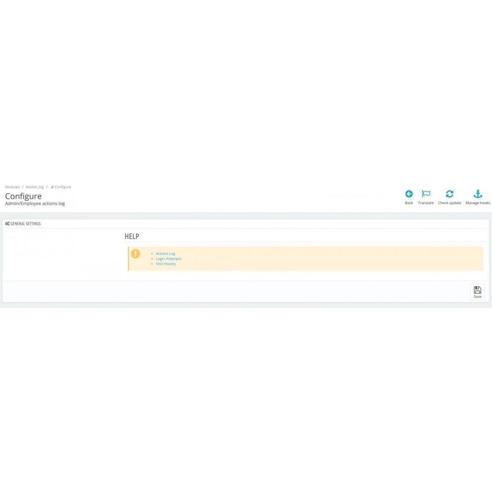 module - Ferramentas de Administração - Admin/Employee log of changes and actions - 3