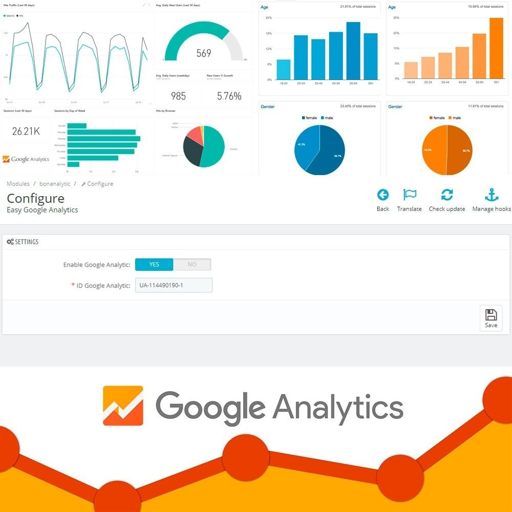 module - Analyses & Statistiques - Easy Google Analytics - 4