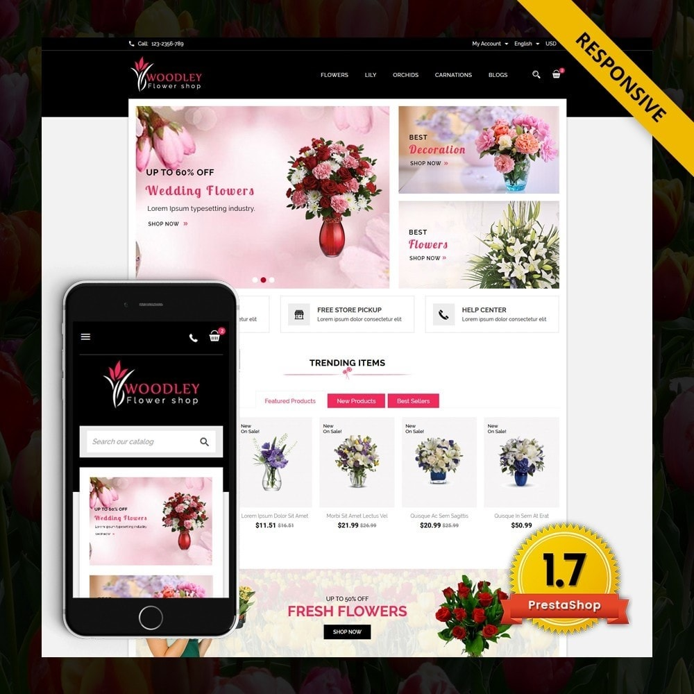 theme - Presentes, Flores & Comemorações - Woodley - The Flowers Shop - 1