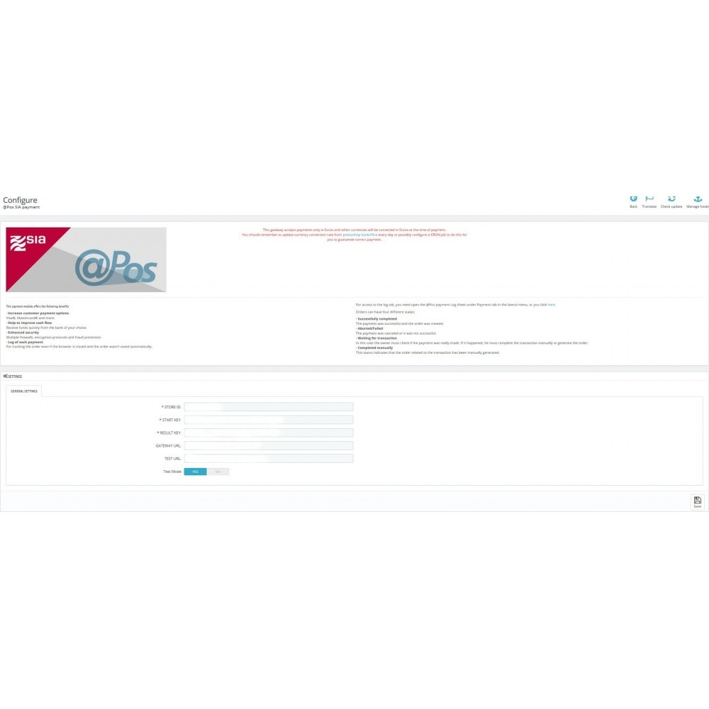 module - Paiement par Carte ou Wallet - @Pos SIA payment - 1