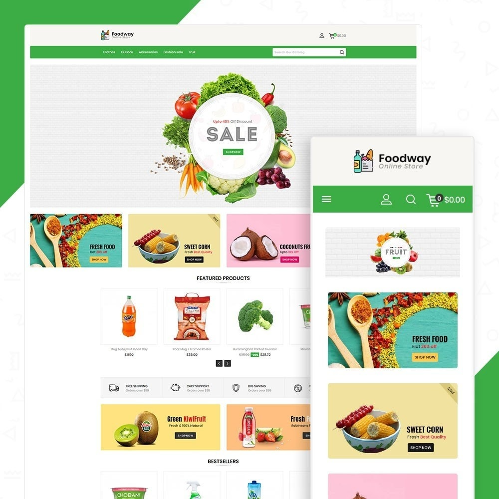 theme - Alimentation & Restauration - Foodway Online Store - 1