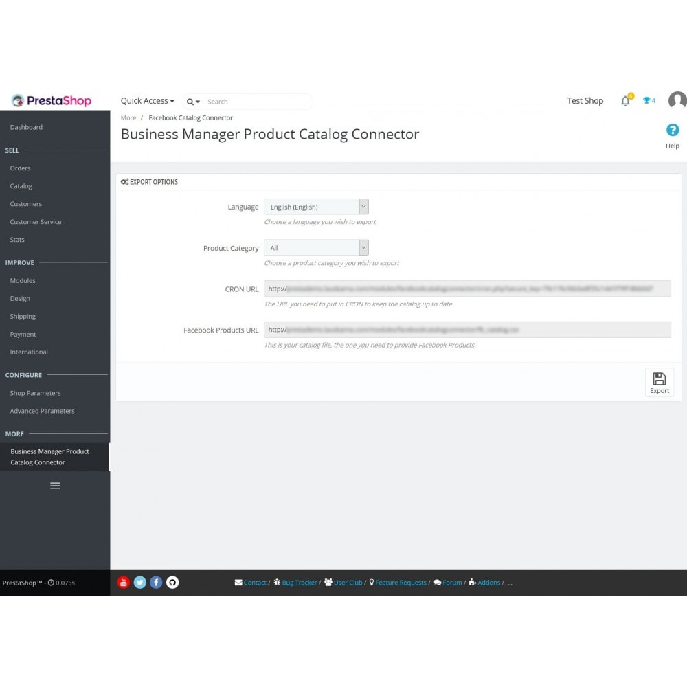 module - Facebook & Redes sociais - Business Manager Product Catalog Connector - 1