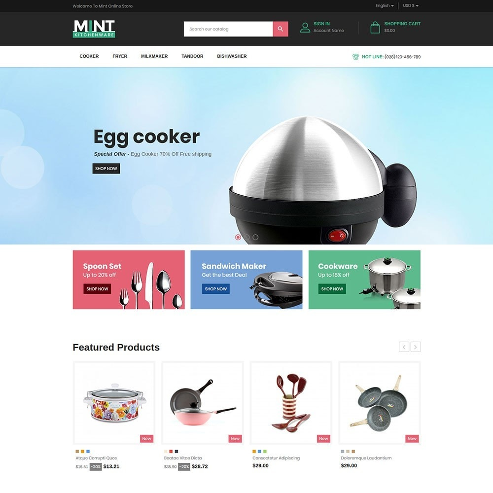 theme - Alimentation & Restauration - Mint - Kitchen Online Store - 2