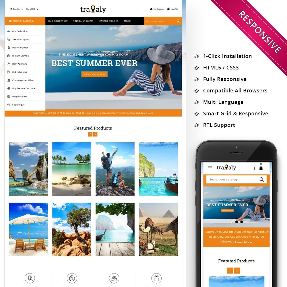 theme - Sport, Loisirs & Voyage - Travaly  -The Tourism Store - 1