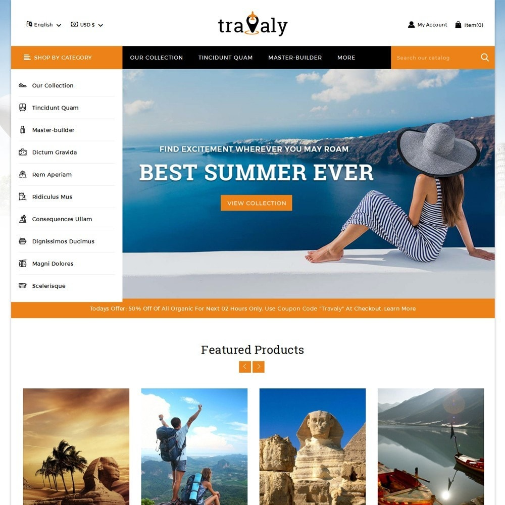 theme - Sport, Loisirs & Voyage - Travaly  -The Tourism Store - 2