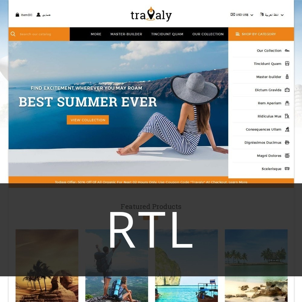 theme - Sport, Loisirs & Voyage - Travaly  -The Tourism Store - 3