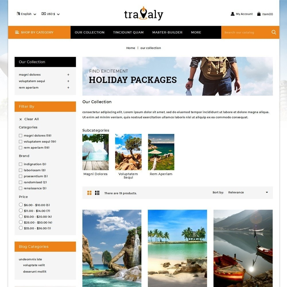 theme - Sport, Loisirs & Voyage - Travaly  -The Tourism Store - 4