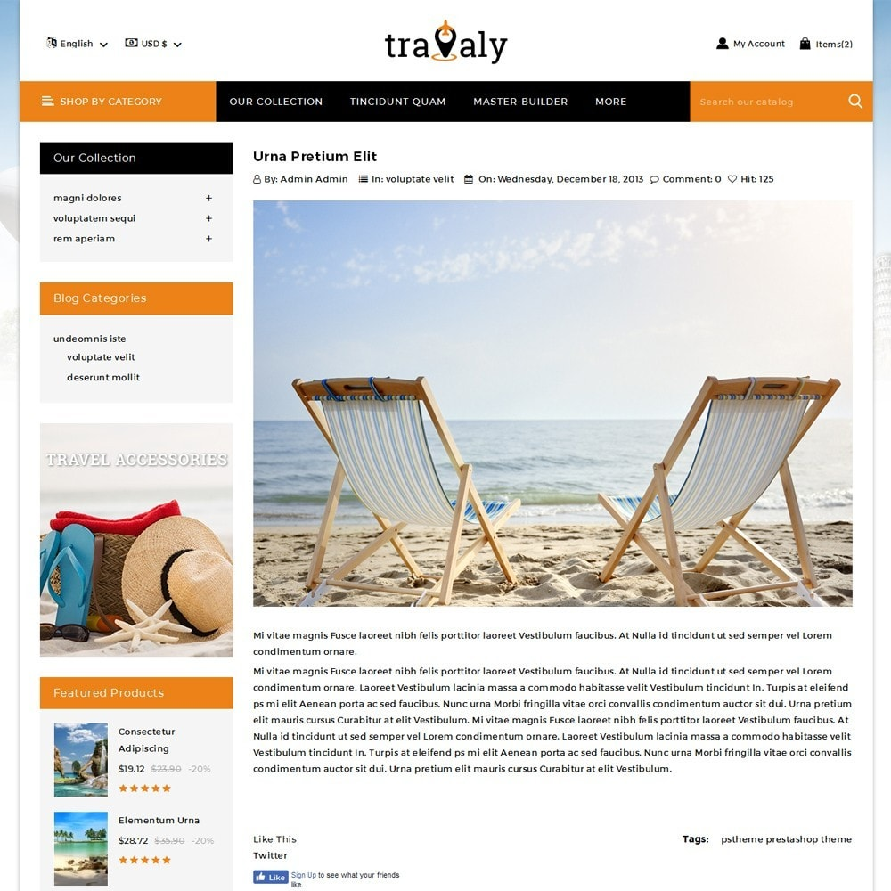 theme - Sport, Loisirs & Voyage - Travaly  -The Tourism Store - 7