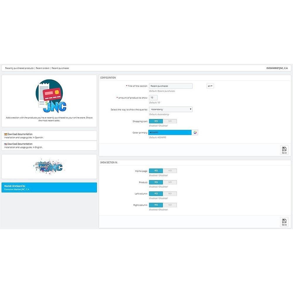 module - Zarządzanie zamówieniami - Recently purchased products | Recent orders - 3