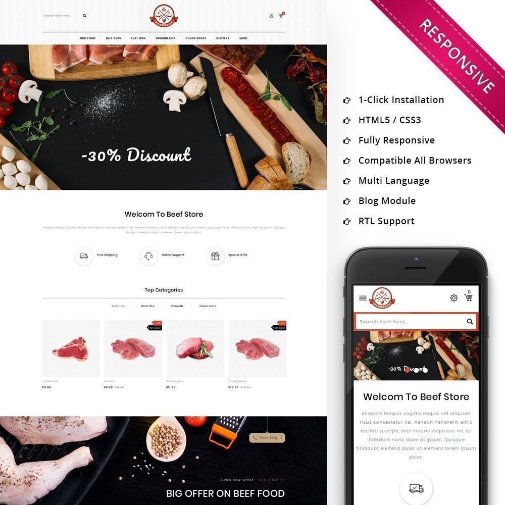 theme - Alimentos & Restaurantes - Barbecue - The Meat Shop - 1