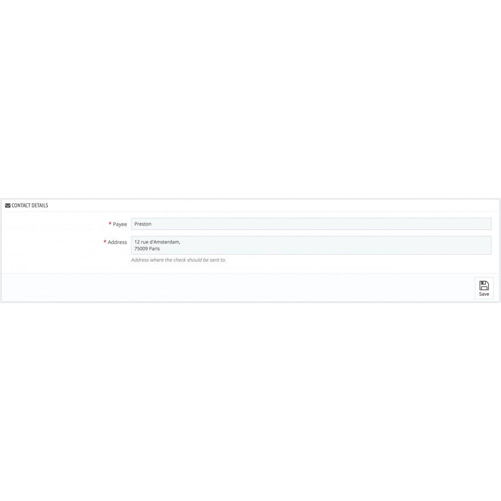 module - Formas de Pagamento Alternativas - Payments by check - 2