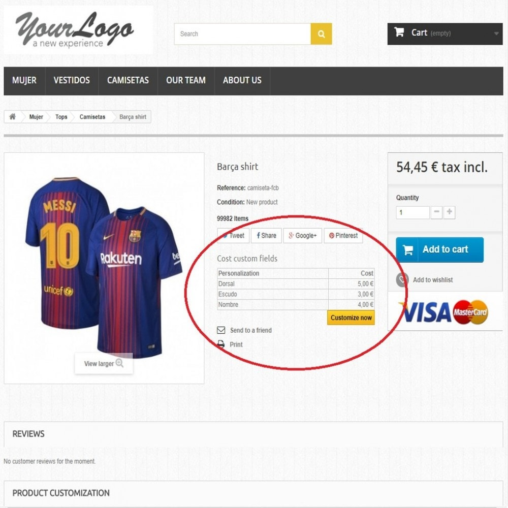 module - Déclinaisons & Personnalisation de produits - Customization Prices - 5