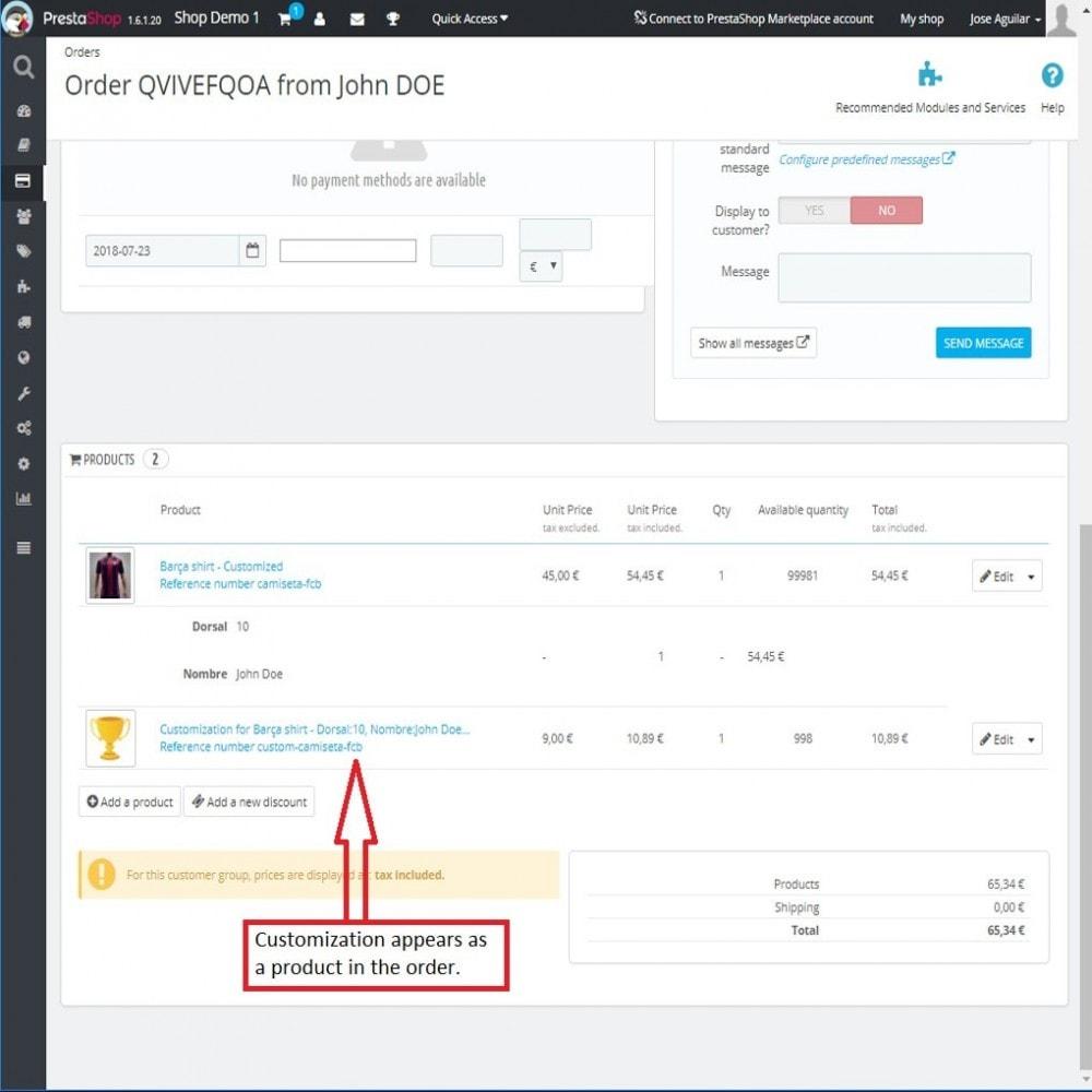 module - Combinaciones y Personalización de productos - Campos personalizados con precio - 9
