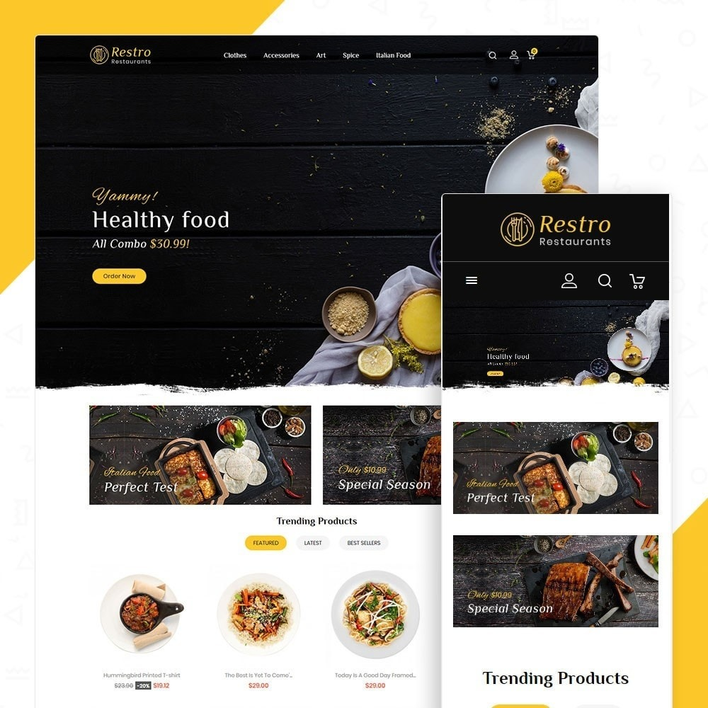 theme - Alimentos & Restaurantes - Restro Restaurant - 1